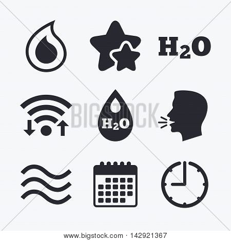 H2O Water drop icons. Tear or Oil drop symbols. Wifi internet, favorite stars, calendar and clock. Talking head. Vector