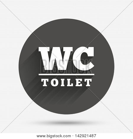 WC Toilet sign icon. Restroom or lavatory symbol. Circle flat button with shadow. Vector
