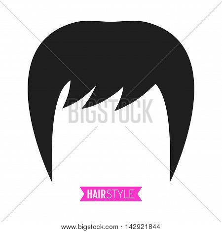 Black, flat silhouette hairstyle on white background. Icon hair. Vector illustration