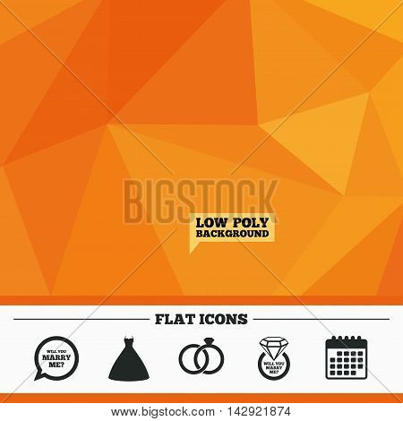 Triangular low poly orange background. Wedding dress icon. Bride and groom rings symbol. Wedding or engagement day ring with diamond sign. Will you marry me speech bubble. Calendar flat icon. Vector