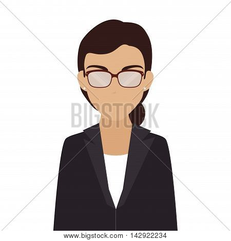 women business glasses suit face leader executive office work professional  vector illustration isolated