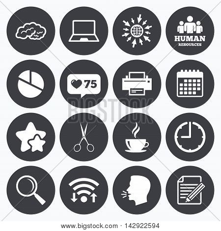 Calendar, wifi and clock symbols. Like counter, stars symbols. Office, documents and business icons. Human resources, notebook and printer signs. Scissors, magnifier and coffee symbols. Talking head, go to web symbols. Vector