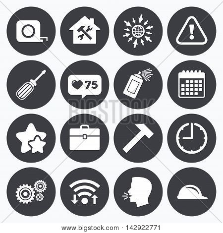 Calendar, wifi and clock symbols. Like counter, stars symbols. Repair, construction icons. Helmet, screwdriver and hammer signs. Gears, painting spray and attention symbols. Talking head, go to web symbols. Vector