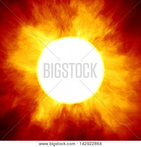 Big star similar to the sun with a huge fiery crown