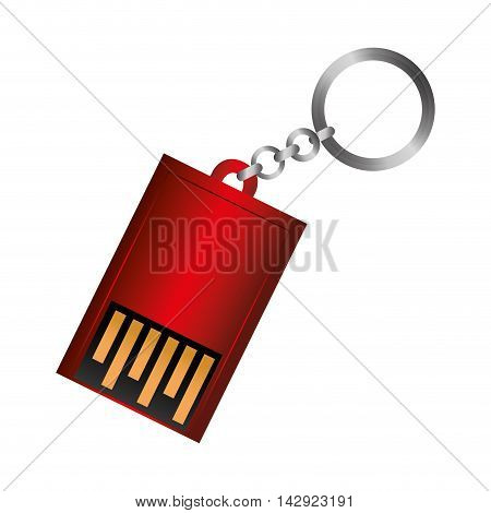 usb device connection data connect disk keychain portable vector graphic illustration