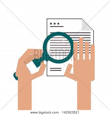 flat design paper document examination icon vector illustration