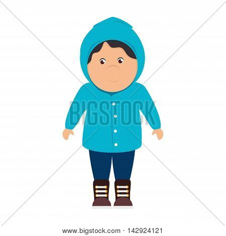 boy sweater raincoat cartoon male smile happy yellow rainy cloudy vector illustration isolated