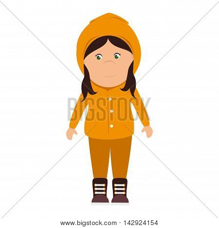 girl sweater raincoat cartoon female smile happy yellow rainy cloudy vector illustration isolated