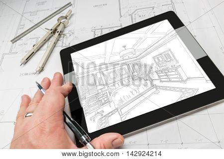 Hand of Architect on Computer Tablet Showing Bedroom Illustration Over House Plans, Compass and Ruler.