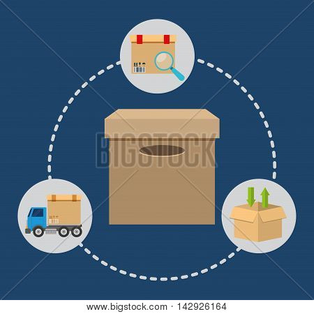 Box package lupe truck delivery shipping icon. Colorfull and flat illustration. Vector graphic