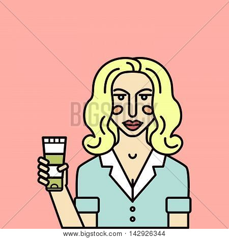 Vector personage. Woman consultant shows beauty product.