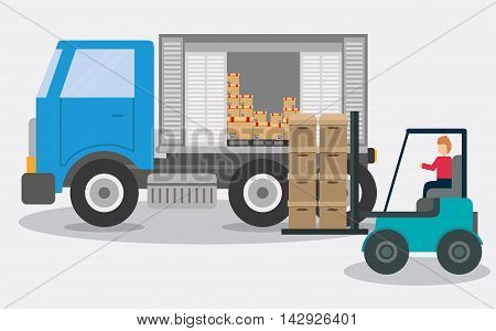 Box package forklift truck delivery shipping icon. Colorfull and flat illustration. Vector graphic
