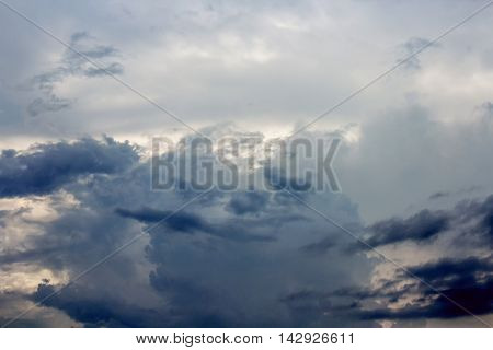 Dark Blue sky and Cloud episode sunset beautiful nature for background