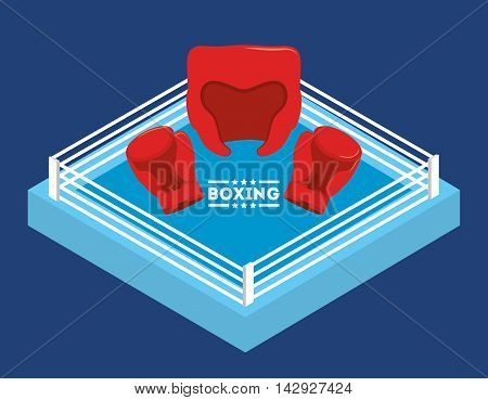 glove helmet boxing sport training icon. Colorful and flat design. Vector illustration