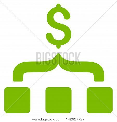 Collect Money icon. Vector style is flat iconic symbol with rounded angles, eco green color, white background.