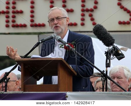 DURHAM, UK - JULY 9: UK Labour Leader Jeremy Corbyn speaks at the Durham Miner's Gala. July 9, 2016.