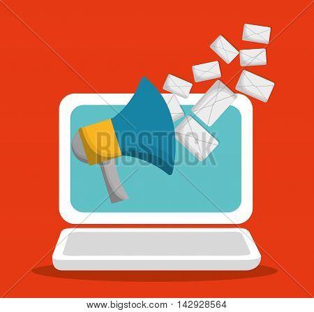 envelope laptop megaphone email marketing send icon. Colorful and flat design. Vector illustration