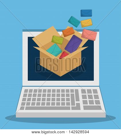 envelope laptop box email marketing send icon. Colorful and flat design. Vector illustration