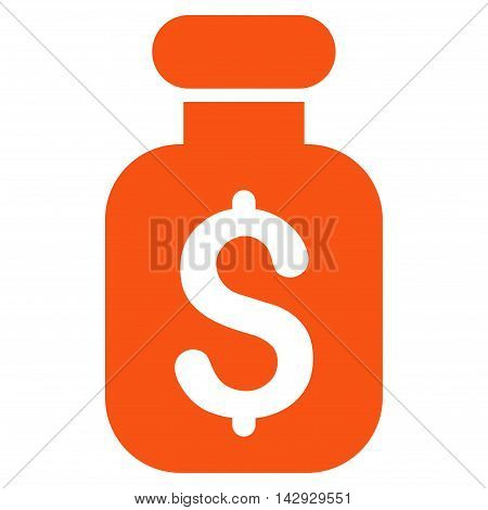 Business Remedy icon. Vector style is flat iconic symbol with rounded angles, orange color, white background.
