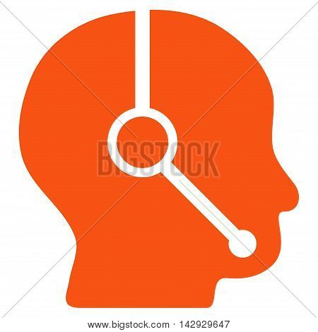 Call Center Operator icon. Vector style is flat iconic symbol with rounded angles, orange color, white background.