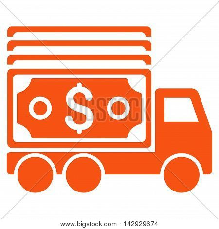 Cash Lorry icon. Vector style is flat iconic symbol with rounded angles, orange color, white background.