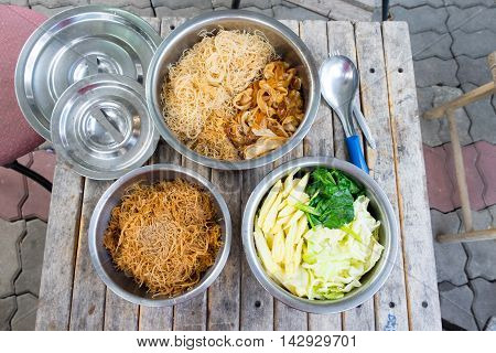 various rice noodles Thai Noodles Topped with vegetable :Chinese and Thai Style food called