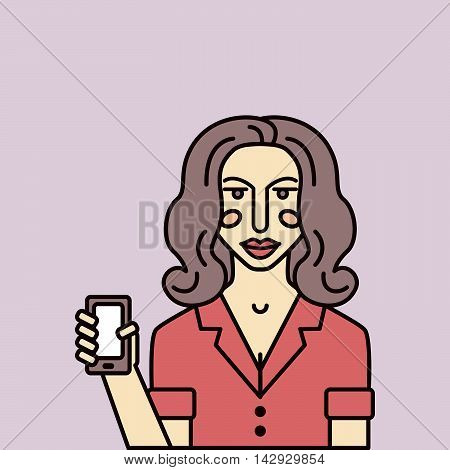 Vector isolated personage. Woman consultant shows smartphone.