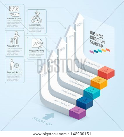 Start Up Business Staircase Direction. Vector Illustration. Can Be Used For Workflow Layout, Banner,