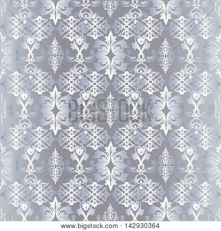 Light damask baroque vector seamless pattern background  with royal silver ornaments .Luxury element for design in Eastern style.Ornate 3d decor with shadow and highlights.