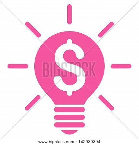 Business Idea Bulb icon. Vector style is flat iconic symbol with rounded angles, pink color, white background.