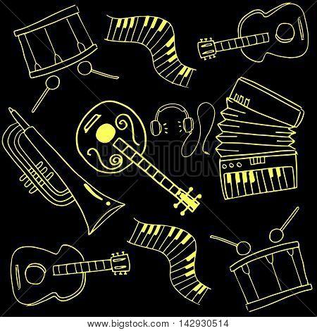Doodle of music set image hand draw vector art