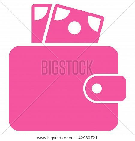 Wallet icon. Vector style is flat iconic symbol with rounded angles, pink color, white background.