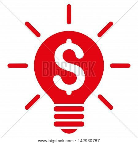Business Idea Bulb icon. Vector style is flat iconic symbol with rounded angles, red color, white background.