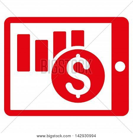 Sales Chart on Pda icon. Vector style is flat iconic symbol with rounded angles, red color, white background.