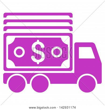 Cash Lorry icon. Vector style is flat iconic symbol with rounded angles, violet color, white background.
