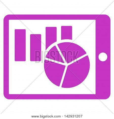 Charts on Pda icon. Vector style is flat iconic symbol with rounded angles, violet color, white background.