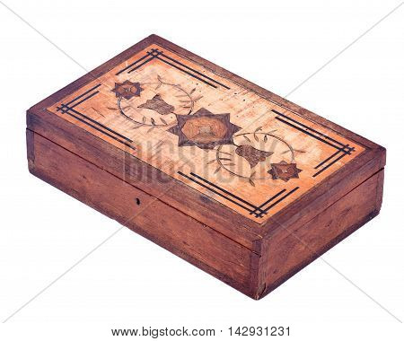 Vintage treasure box separated on white background