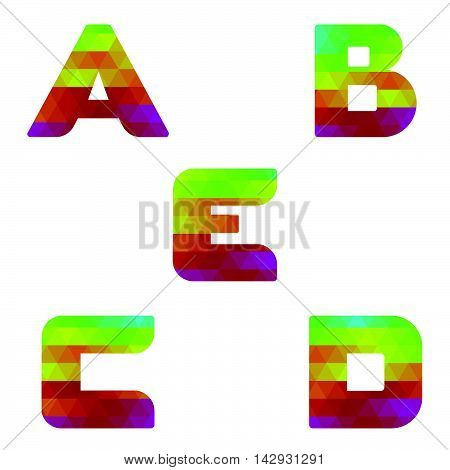Alphabet Colorful Letters A To E
