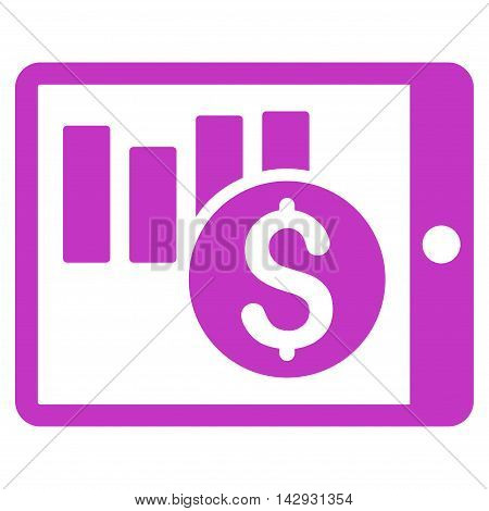Sales Chart on Pda icon. Vector style is flat iconic symbol with rounded angles, violet color, white background.