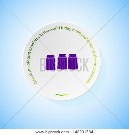 Environmental icons depicting three cans milk with shadow, abstract vector illustration