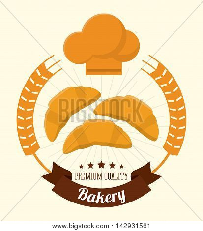 croissant wreath bakery food shop icon. Colorfull illustration. Vector graphic