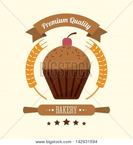 muffin cupcake rolling pin wreath bakery food shop icon. Colorfull illustration. Vector graphic