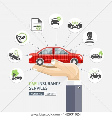 Car insurance services. Business hands holding red car. Vector Illustrations.