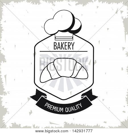 croissant chefs hat bread bakery ribbon food shop icon. Isolated and grunge illustration. Vector graphic