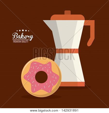 donut kettle bakery food shop icon. Colorfull illustration. Vector graphic