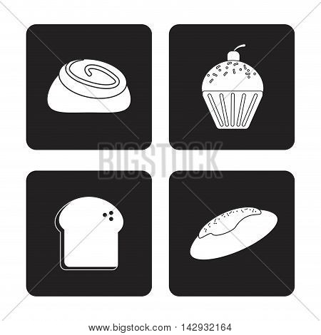 toast muffin cupcake bread bakery food shop icon. Isolated illustration. Vector graphic