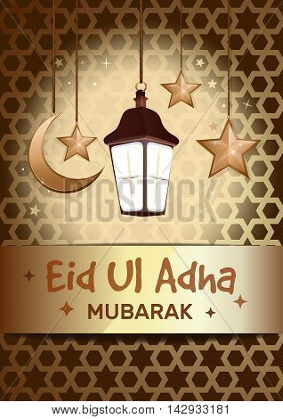 Greeting card for Sacrifice Feast. Eid Al Adha mubarak poster with hanging golden stars crescent moon glowing lantern against the backdrop of traditional Islamic pattern. Vector illustration