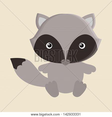 raccoon animal cute little cartoon icon. Colorful and flat design. Vector illustration