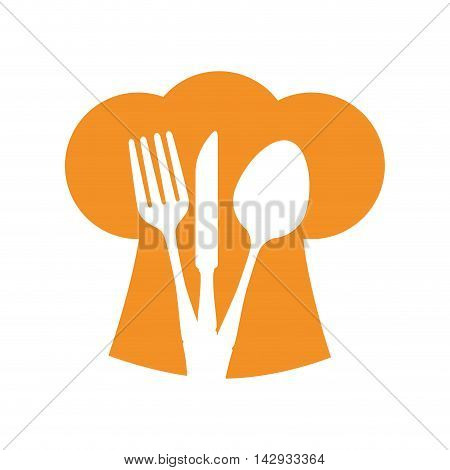 hat chef silverware spoon fork knife silhouette vector illustration isolated