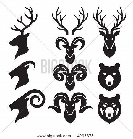 Animal Horn and Head Icons Set. Goat Deer and Bear. Vector Illustration.